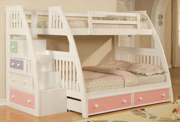 Twin Bunk Bed with Stairs Plans 593 x 404