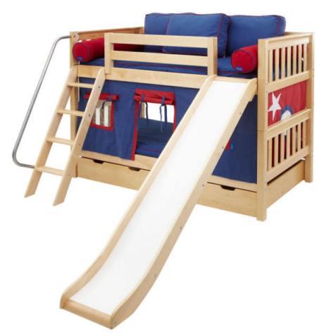 bunk bed with sliding board. Black Bedroom Furniture Sets. Home Design Ideas