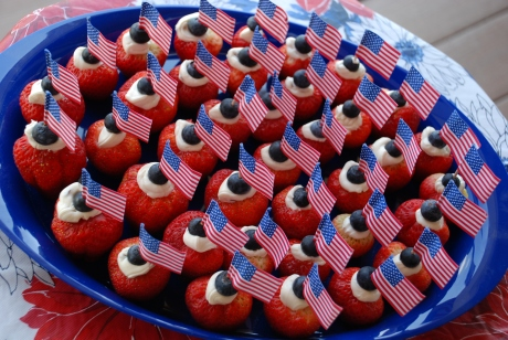Strawberries with flags