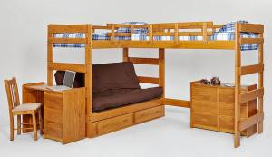 Boone Sleeps 3 or 4 Higher L Shape Loft Bed at Totally Kids