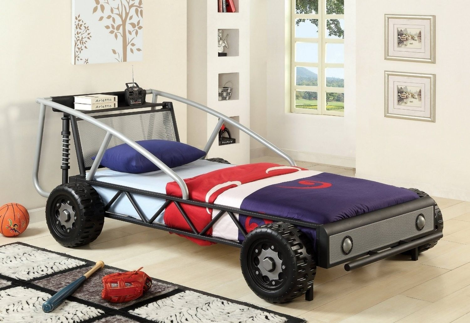 this fun twin sized bed s spoiler doubles as a built in shelf