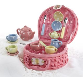 Wicker Basket Tea Set